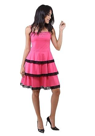 9a9b225cc36dc 1533 Dodona Dantel Detaylı Taşlı Fuşya Şık Abiye Gece Yazlık Elbise-Fuşya-1