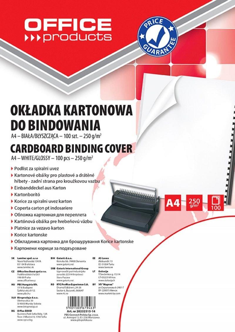 Office Products 20232515–14Copertine per Rilegatura in Cartoncino, formato A4, 250G/MQ, lucido, 100pezzi, bianco PBS Connect Polska Sp. z o.o. 20232515-14