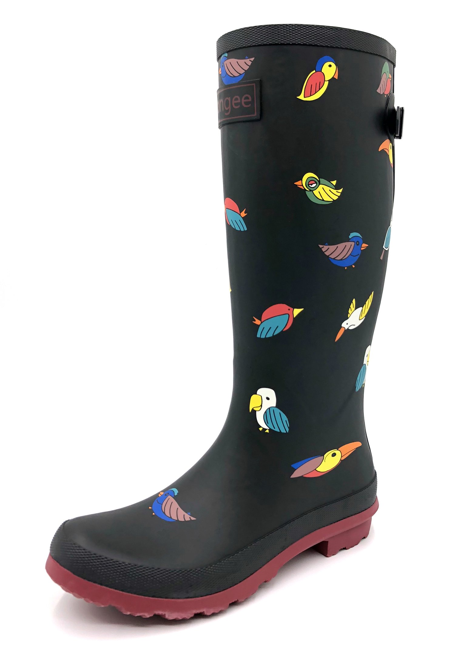 Rongee Bird Printed Tall Rubber Rain Boots for Women with Adjustable Gusset and Oxford Bag Packed (8 B(M) US)