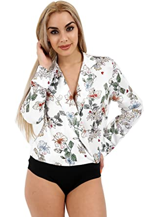 Ladies Floral Print Wrap Front Bodysuit Women/'s Silk Satin Shirt Blouse Top 8-14