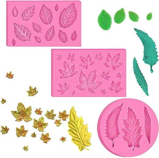 Hojas de Silicona para Fondant molde pastel molde para decoración de hoja de árbol de flores