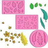 BUSOHA (3 Pack) Assorted Leaf Fondant Mold,3D Leaf Silicone Mold for Chocolate Candy, Sugarcraft Cake Decoration…