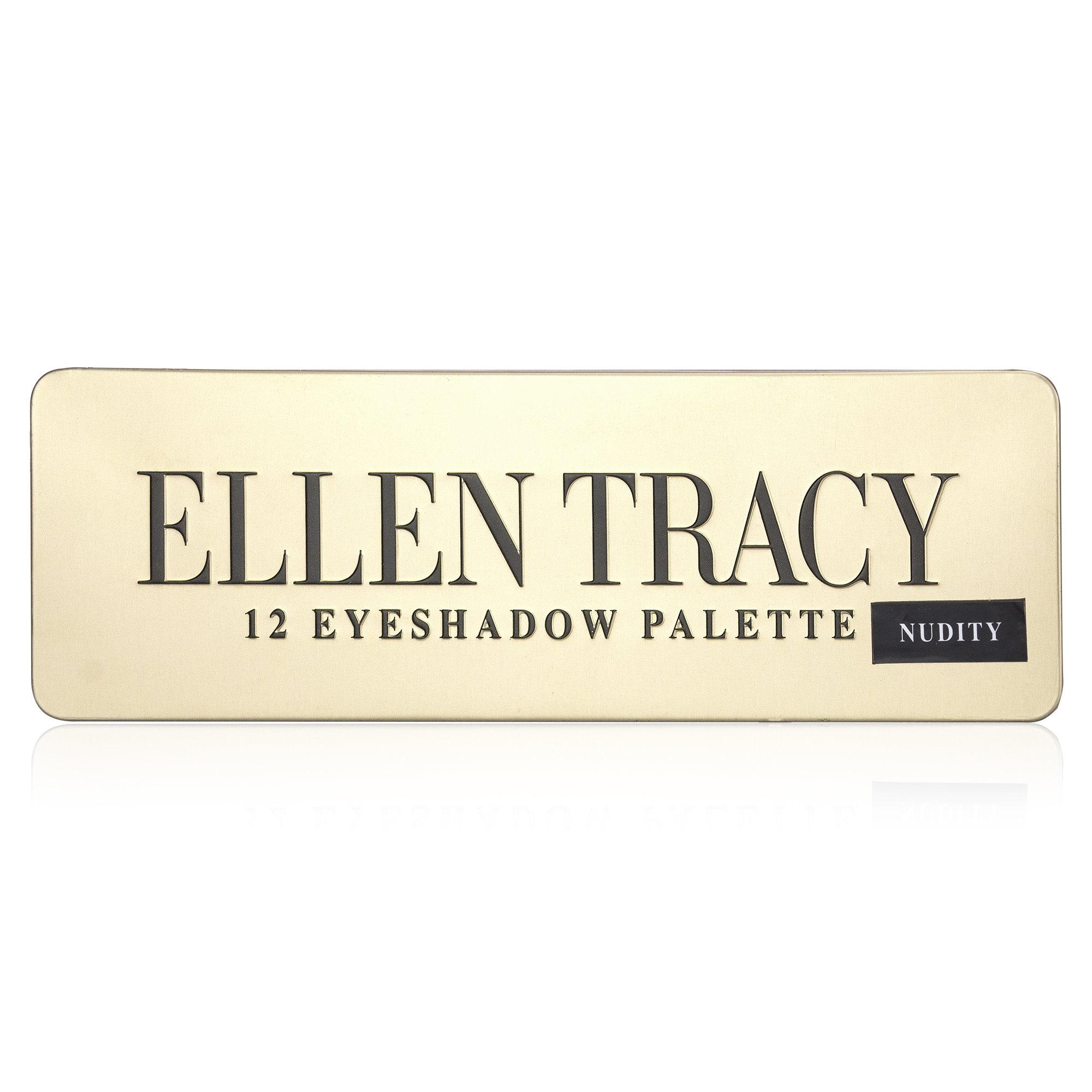 Ellen Tracy Luxurious 12-Well Eye Shadow Palette in Tin Box, Easy to Apply, Everyday Wear, for Women, Teen Girls, Nude Colors, Natural, Polished, Sun-Kissed Look, with Eyeshadow Brush Included
