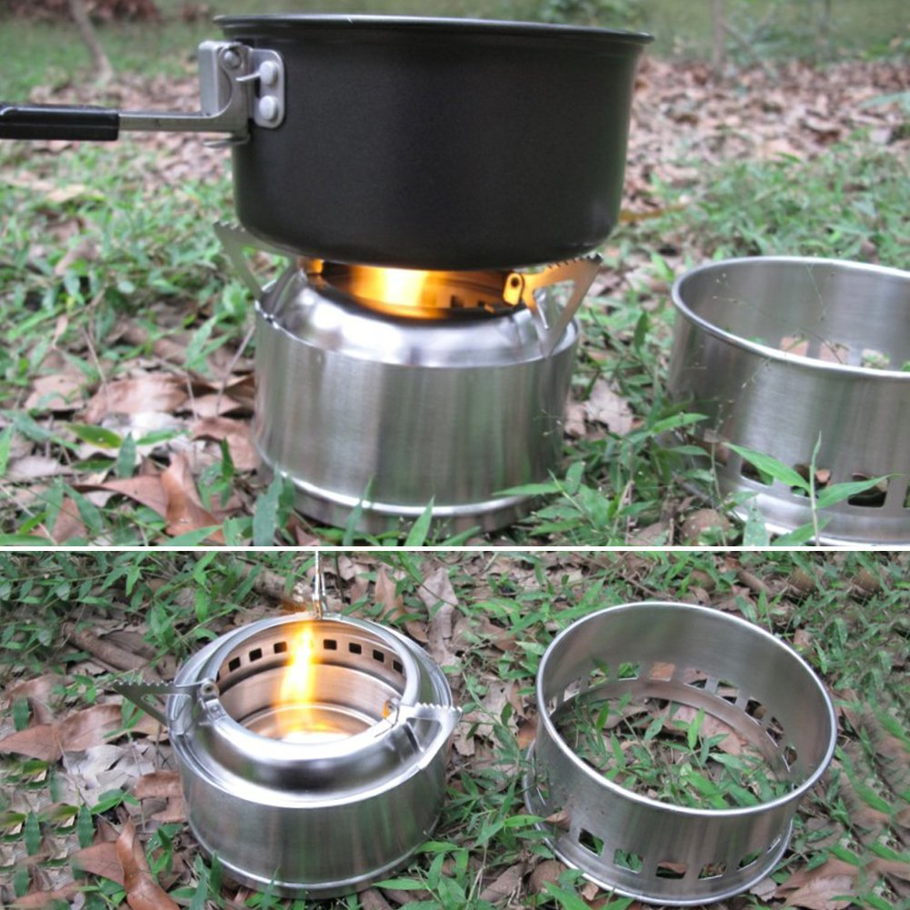 ... ligero madera estufa solidified Alcohol estufa quemador con bolsa de malla para Camping, Senderismo, Picnic, cocinar al aire libre, barbacoa: Amazon.es: ...