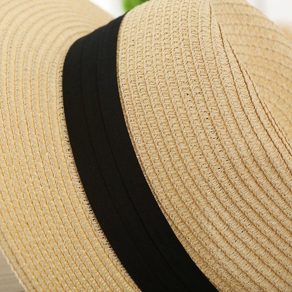 5c16f0d5e82d QQI Mens/Ladies Summer Sun Hat - Packable Fedora Sun Hats w/Travel Tube  Panama Trilby Hat -Beach Sun Floppy Derby Hat Wide Brim Straw Cap (Beige):  ...