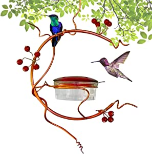 MISEDI Red Berries Best Hummingbird Feeder for Outdoors, 3.4oz Bird Feeder with 5 Feeding Ports, Easy to Clean, Spring Summer Decor, Hummingbird Feeders for Outdoors, Deck, Patio, Garden, Yard