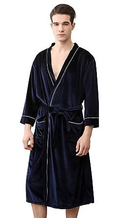 SUIMO - Albornoz Kimoni para Mujer Hombre de Baño Ducha Bata de Baño de Terciopelo Suave para Dormir Casa Hotel Piscina - Gris Azul Rojo: Amazon.es: Ropa y ...