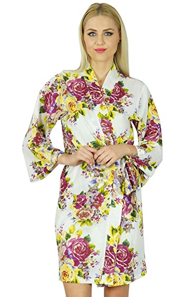 91ce151dcf Bimba Women Bridesmaid Robe Floral Short Cotton Getting Ready custom Robes  at Amazon Women s Clothing store