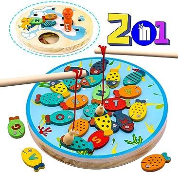 jerryvon Juegos de Mesa Pesca Magnetico Montessori Juguetes Madera Educativos Puzzle 2 en 1 con 30PCS Alfabeto Juegos Habilidad Viaje Regalos Cumpleaños para niños 3 4 5 años: Amazon.es: Juguetes y juegos