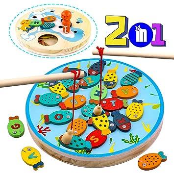 jerryvon Juegos de Mesa Pesca Magnetico Montessori Juguetes Madera Educativos Puzzle 2 en 1 con 30PCS Alfabeto Juegos Habilidad Viaje Regalos ...