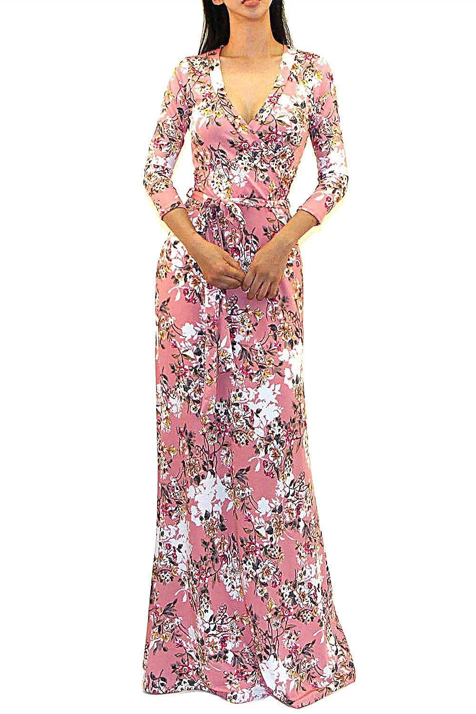 6ca04e3f0c4 Top2  Vivicastle Women s Printed V-Neck 3 4 Sleeve Faux Wrap Waist Tie Long  Maxi Dress. Wholesale Price 19.95 -  39.95 95% Polyester