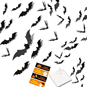 VIVIK Halloween 3D Bats Decoration,84 pcs,4 Sizes Realistic PVC Scary Bats Window Decal Wall Stickers for DIY Home Bathroom Indoor Decoration Party Supplies (84 Pack)