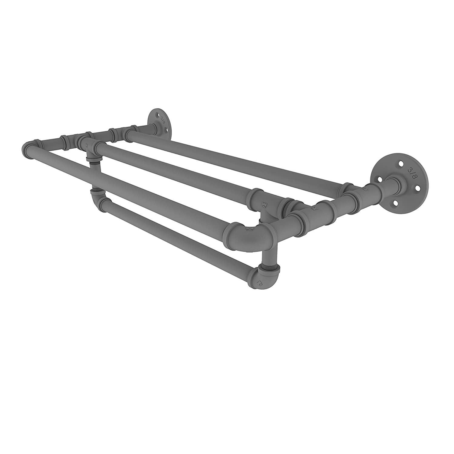 Allied Brass P-240-24-TSTB-GYM Pipeline Collection 24 Inch Wall Mounted Shelf with Towel Bar Matte Gray