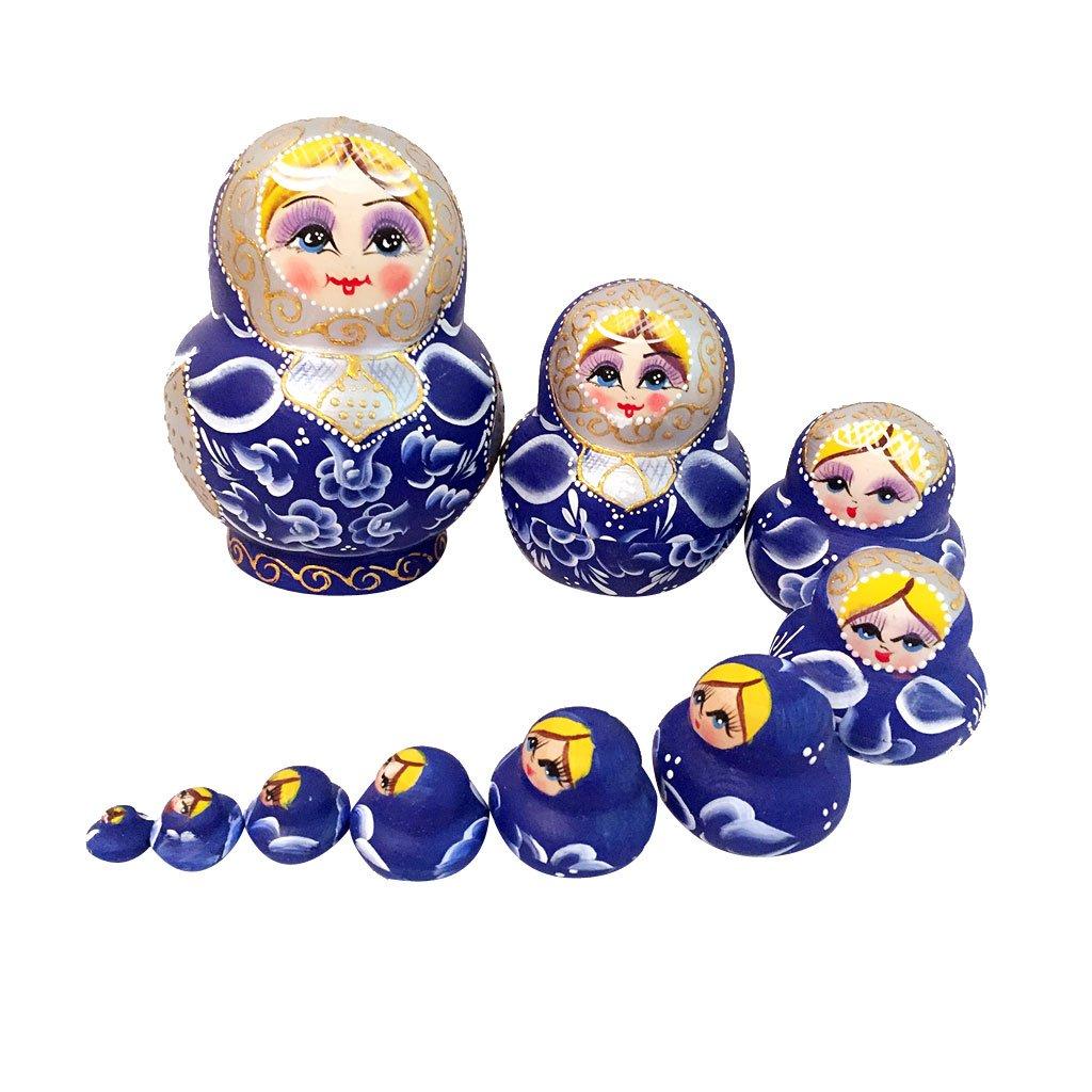 10pcs Pintado A Mano Azul De Madera Muñecas Rusas