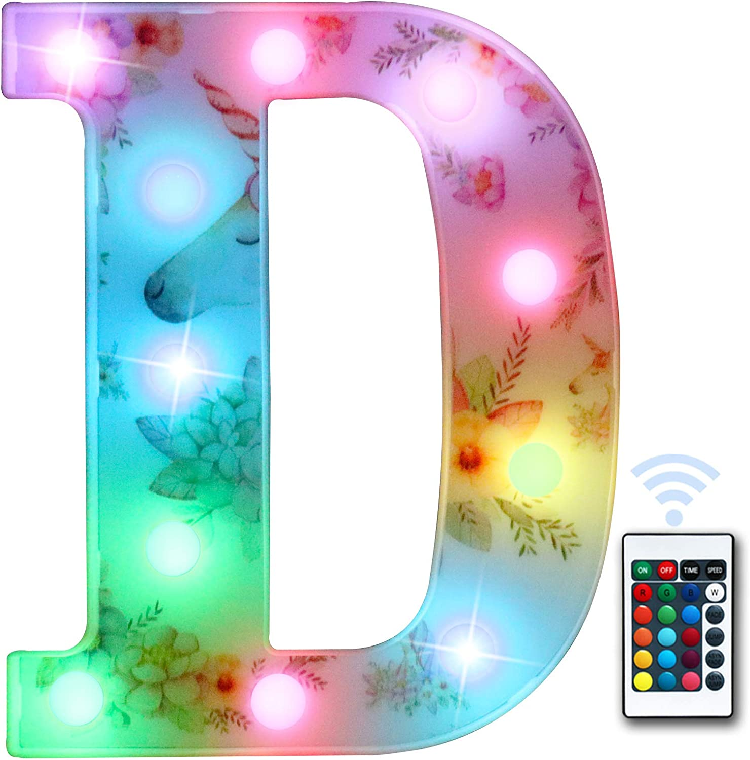 Light up Color Changing Unicorn Decorations LED Marquee Letter Lights with Remote, Party Bar Colorful 26 Alphabet Sign Night Light Home Party Birthday Decor-Multicolor letter D