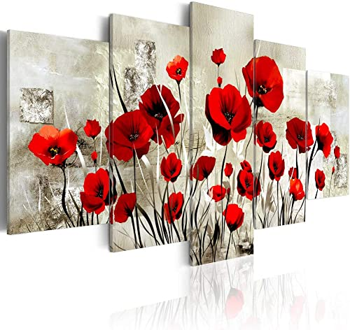 Poppy Flower Canvas Painting Wall Art Pictures Print Bedroom Living Room Office Decor Artwork 5 Panel A,Over Size 40inch x 20inch