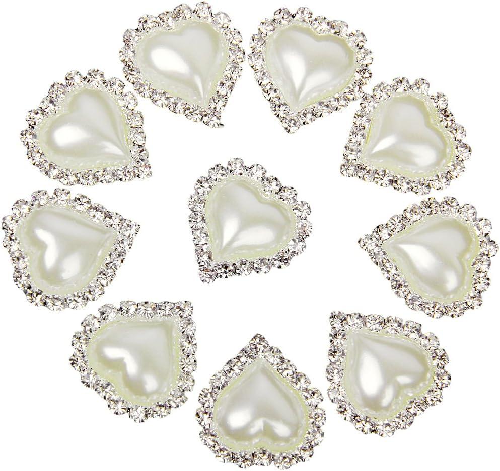 10 X LOVE with Flower Embellishments Crystal Pearl DIY Flatback Craft #5