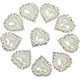Heart Shape Rhinestone Faux Pearl Glue on Flat Back Embellishments 20mm x 25mm (Pack of 10pcs)