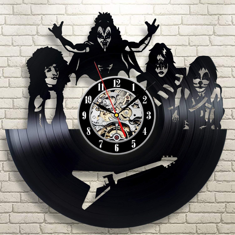 ArtoriDesign18 KISS Band Wall Clock Vinyl Record KISS Wall Clock Vinyl KISS Merchandise Wall Clocks Unique Handmade Kiss Rock Band Home Decor Retro Clock Art Wall Clock
