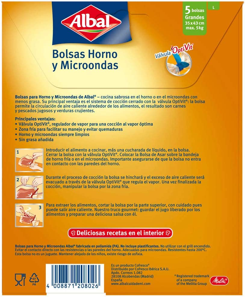 Albal Bolsas para horno y microondas, válvula de cierre, zona fría ...