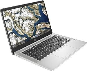 2020 Newest HP Chromebook 14 Inch FHD 1080P Laptop with Webcam, Intel Celeron N4000 up to 2.6 GHz, 4GB RAM, 64GB eMMC, Webcam, WiFi 5, Chrome OS | 32GB Tela USB Card