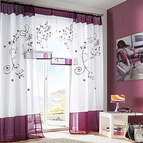 SIMPVALE 2 pezzi pastorale ricamo finestra tende per soggiorno e camera da  letto, Violet, 140cm(larghezza)x145cm(lunghezza)