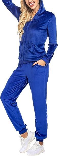 UNibelle Femme Surv/êtement 2 Pics Combinaison Sweats /à Capuche Ensemble de Sport Suit Sportswear pour Jogging Sports S-XXXL