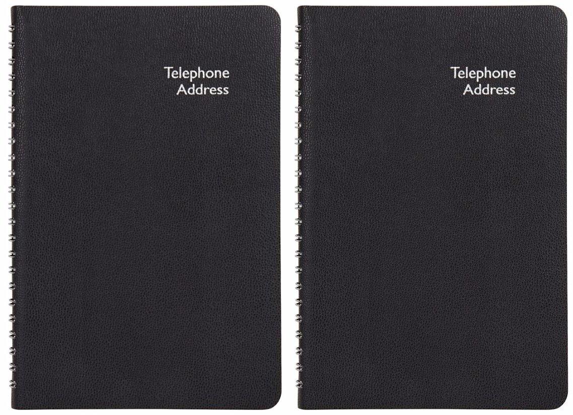 Office Depot (TM) Pajco (TM)Telephone/Address Book, 5 1/4'' x 8 1/4, Black Cover (Combo Set of 2)