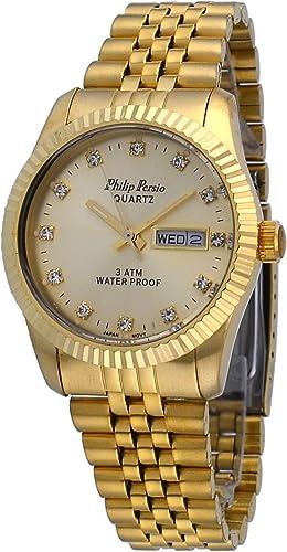 Philip Persio Hombres marcador de cristal de tono de oro estriado bisel día fecha Dial de Oro Reloj: Amazon.es: Relojes