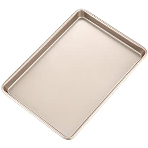 """CHEFMADE 15-Inch Rimmed Baking Pan, Non-stick Carbon Steel Cookie Sheet Pan, FDA Approved for Oven Roasting Meat Bread Jelly Roll Battenberg Pizzas Pastries 15"""" x 10"""" (Champagne Gold)"""