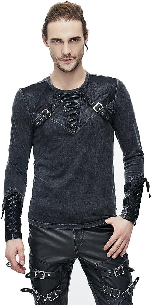Steampunk Camiseta Termica Manga Larga Hombre, Decorado con Cinturón de Cuero, Slim Fit, Casual Tops Cuello Redondo: Amazon.es: Ropa y accesorios