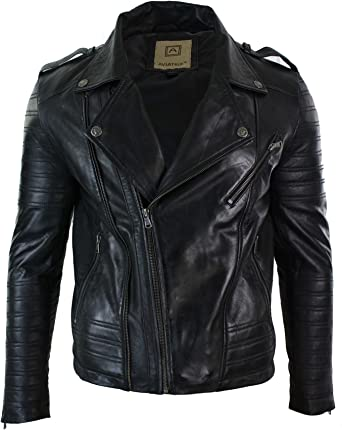 Mens Slim Fit Retro Style Zipped Biker Jacket Real Washed Leather Black Urban