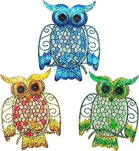 Maansfy Metal Owl Wall Decor Mosaic Glass Art Lizard Sculpture Hanging Decorations Set of 3 for Home Garden Bedroom Patio