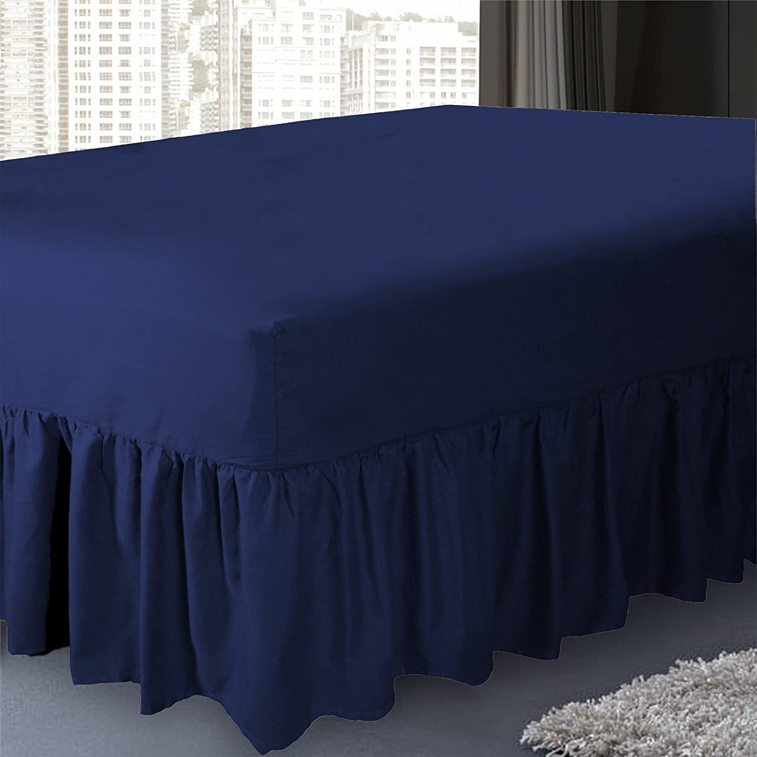 4ft// Navy Blue PolyCotton Blend 50:50 Valance Sheet By Sleep/&Smile // three quarter Size Navy Blue small double