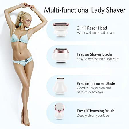 4 in 1 Electric Epilator for Women, HOMIEE Waterproof Ladies Shaver with Body Hair Remover, Bikini Trimmer and Facial Cleansing Brush, Wet and Dry Use for legs, Arms, Underarms and Faces