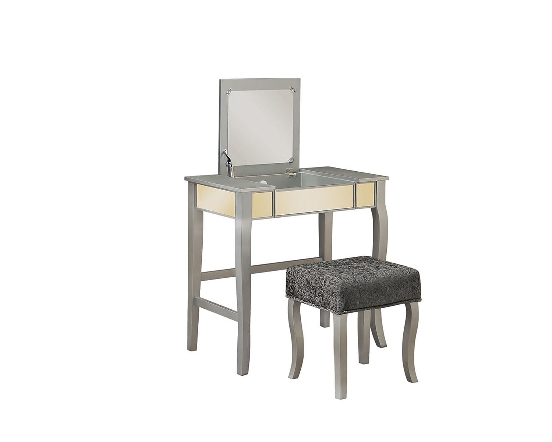"Linon 580432SIL01U Harper Silver Vanity Set, 32"" W x 18"" D x 46.75"" H,"