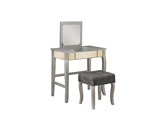Linon Silver Harper Vanity Set, 32 W x 18 D x 46.75 H