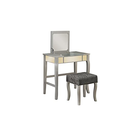 Linon Harper Vanity Set Including Mirror And Stool Silver: Mirrored Bedroom Furniture Set: Amazon.com