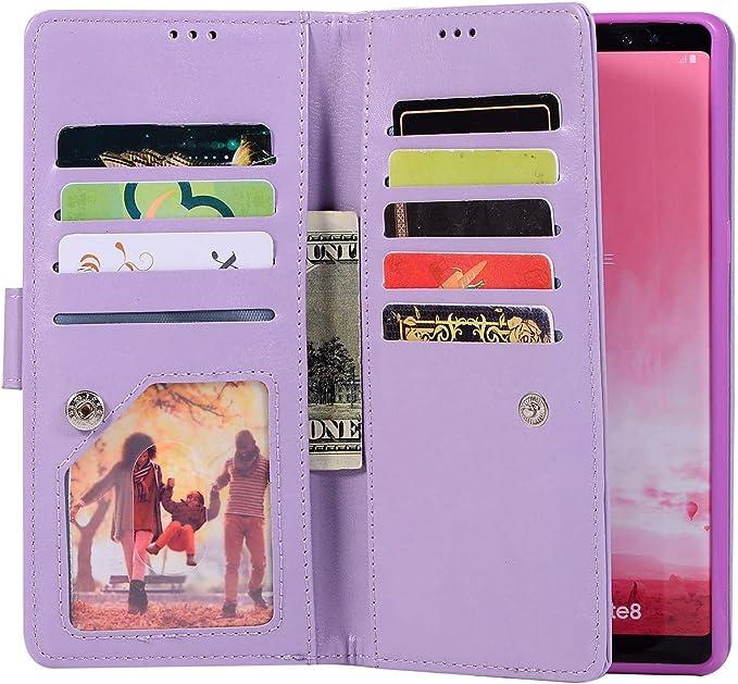 Saceebe Compatible avec Samsung Galaxy A40 Coque Paillette Strass Glitter Cuir /Étui /à Rabat Wallet Housse Pochette Porte-Cartes Portefeuille de Protection Coque Fermeture /éclair,Violet