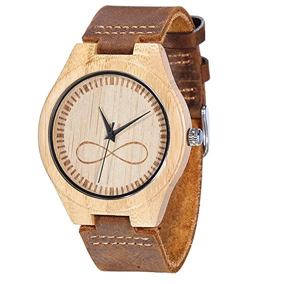 Amazon Wonbee Bamboo Wood Watches Infinity Design With Cowhide