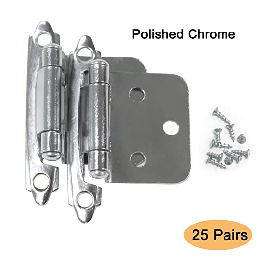 25 Pairs Self Closing Polished Chrome Face Mount Cabinet Kitchen Hinges Variable Overlay 50 Pieces