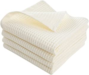 Enetix Premium 4 Pack 100% Cotton Waffle Weave Kitchen Dish Towel Set, Ultra Absorbent Super Soft Quick Drying Cleaning Towels, 14 × 29 Inches (White)