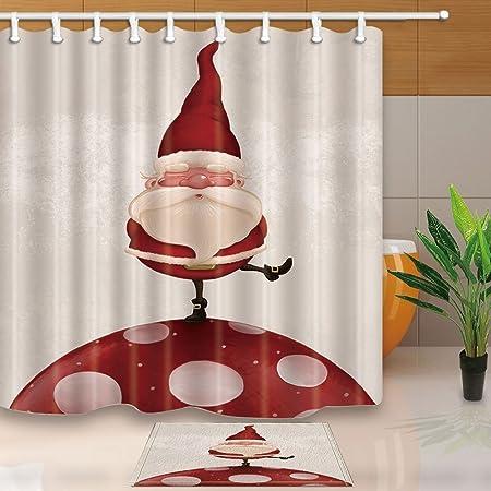HiSoho Christmas Shower CurtainsFunny Santa Stand On The Giant Mushroom71X71in Mildew Resistant