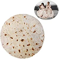 RAINBEAN Burrito Tortilla Blanket, Perfectly Round Novelty Blanket to be a Giant Human Burrito, Tortilla Throw Food Creation Wrap Blanket, Soft & Plush Giant Towel for Adults and Kids
