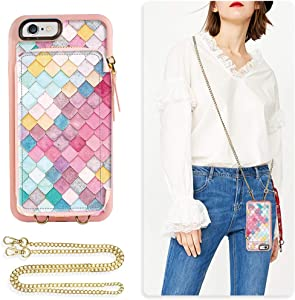 ZVE iPhone 6s Plus Wallet Case, iPhone 6 Plus Case with Credit Card Holder Crossbody Chain Protective Leather Zipper Case Purse Handbag Cover for Apple iPhone 6s / 6 Plus 5.5 inch - Mermaid Wall