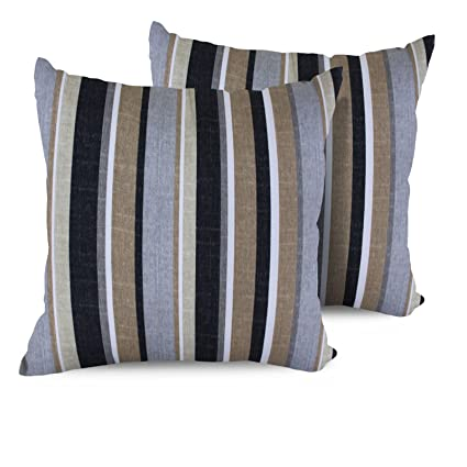 Outdoor Pillows Set Of 2.Tk Classics Stripe Square Outdoor Throw Pillows Set Of 2 Grey Stripe