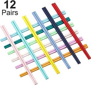 Boao 12 Pairs Reusable Fiberglass Chopsticks, Dishwasher Safe Lightweight Chopsticks Set (Multicolor)