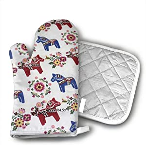 Floral Swedish Dala Horses Oven Mitts and Potholders (2-Piece Sets) - Kitchen Set with Cotton Heat Resistant,Oven Gloves for BBQ Cooking Baking Grilling