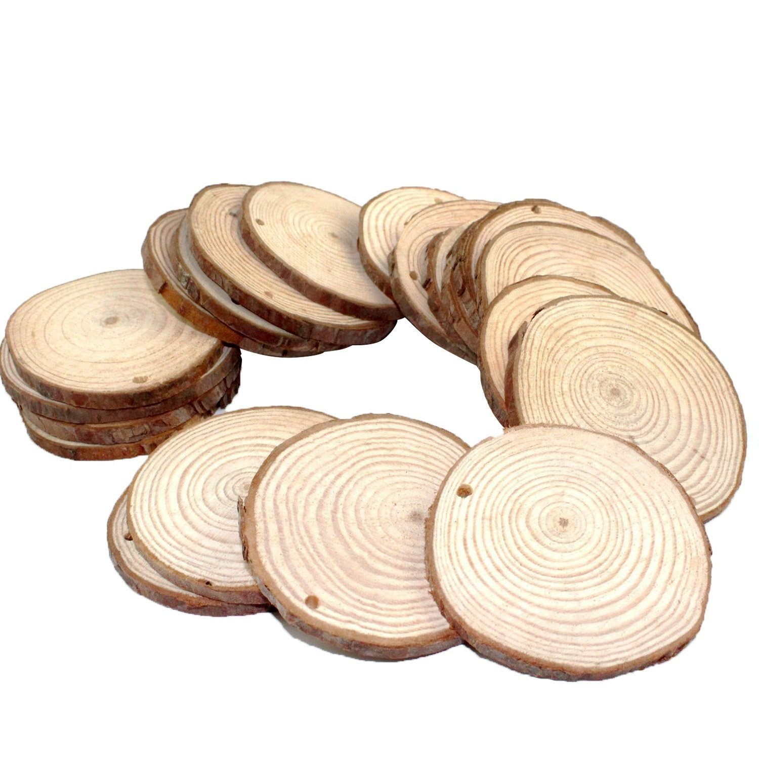 Fuhaieec Wood Slices 2.4-2.8 (6-7cm) Natural Wood Slices Unfinished Predrilled Round Discs Tree Bark Wooden Circles for DIY Crafts Christmas Rustic Wedding Ornaments (50)