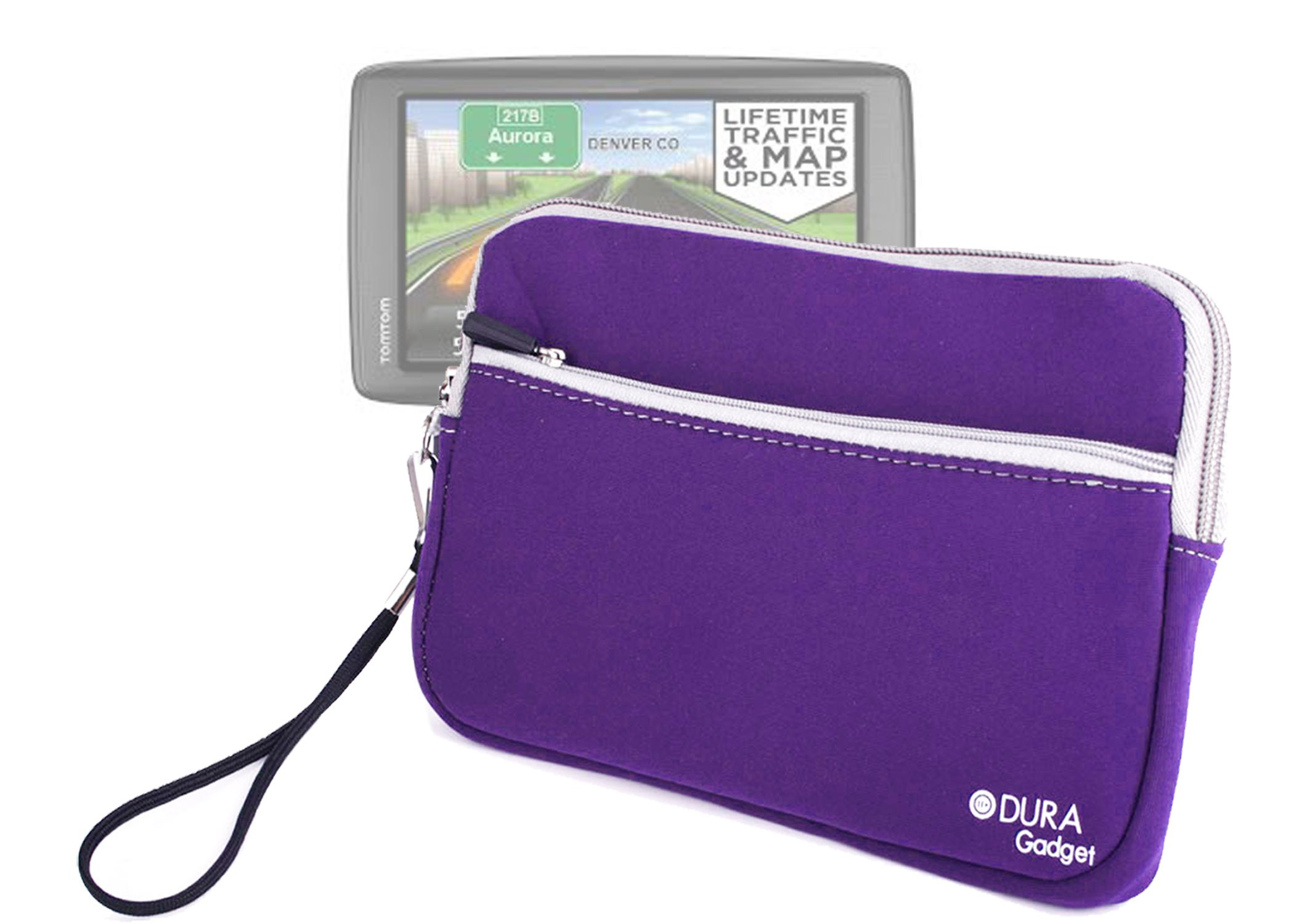 DURAGADGET Purple ''Travel'' Water Resistant Cover With Front Storage Section & Twin Zip For TomTom VIA 1605TM 6-Inch GPS Navigator with Lifetime Traffic & Maps & TomTom VIA 1605M GPS Navigator with Lifetime Maps